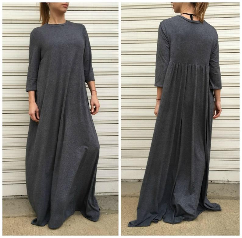 Maxi Women Grey Dress  Casual Long Jersey Dress  Oversize Maxi Dress  Loose Comfortable  Caftan FF Candy