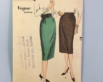 1950s Rare Vintage Vogue Sewing Pattern for Straight Skirt 9864
