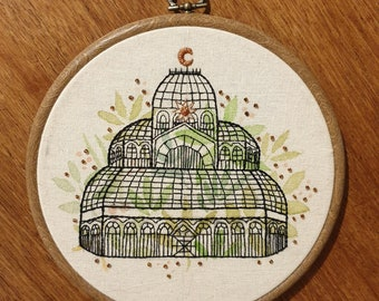 Victorian Greenhouse Hand Embroidered Hoop Art