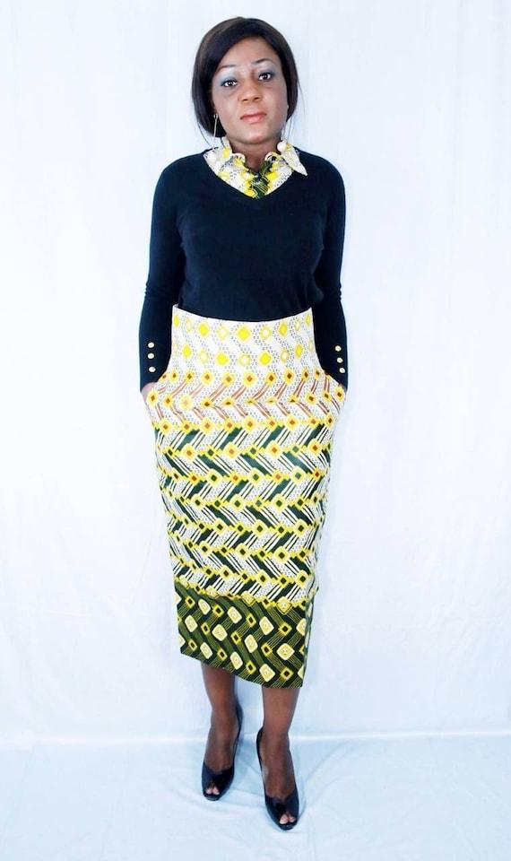 African prints pencil skirt Batik  Bogolan fabrics skirt
