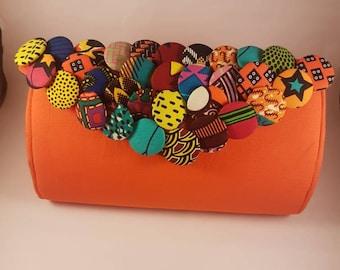 African print bag/ Ankara fabrics button bag/Flap large Clutch bag