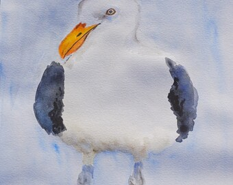 Original watercolour painting of Seagull, watercolour bird painting