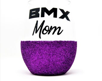 Purple BMX Mom Glass, Glitter Bottomed Wine Glass, Perfect Gift for the BMX Mom