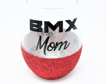 Red and Silver Glitter Stemless Wine Glass for Mom, Perfect Gift for BMX Moms