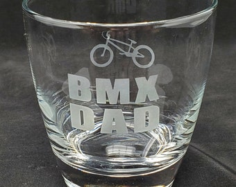BMX Dad Whiskey Glass, Gift for BMX Dads