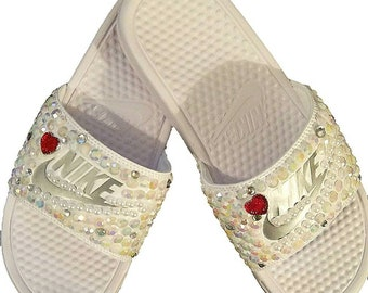 2071e019741b4d White Nikes bedazzled slides and White and Red Nike Slides