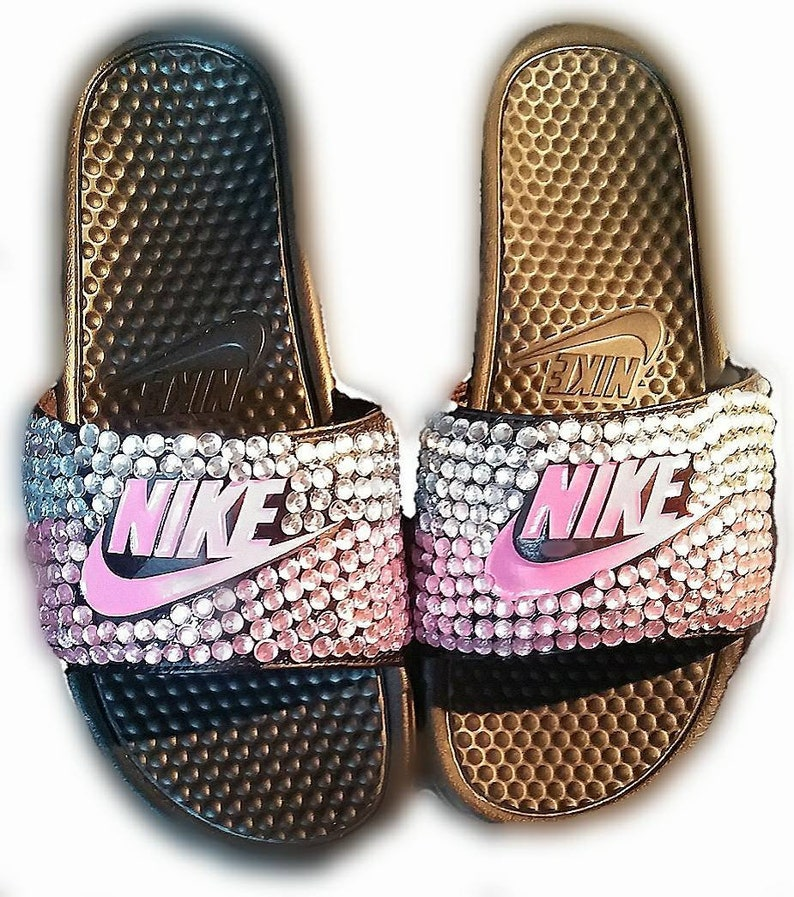 huge selection of 6eccc 56ae3 Black and pink bedazzled nike womens  girls slides shoes   Etsy