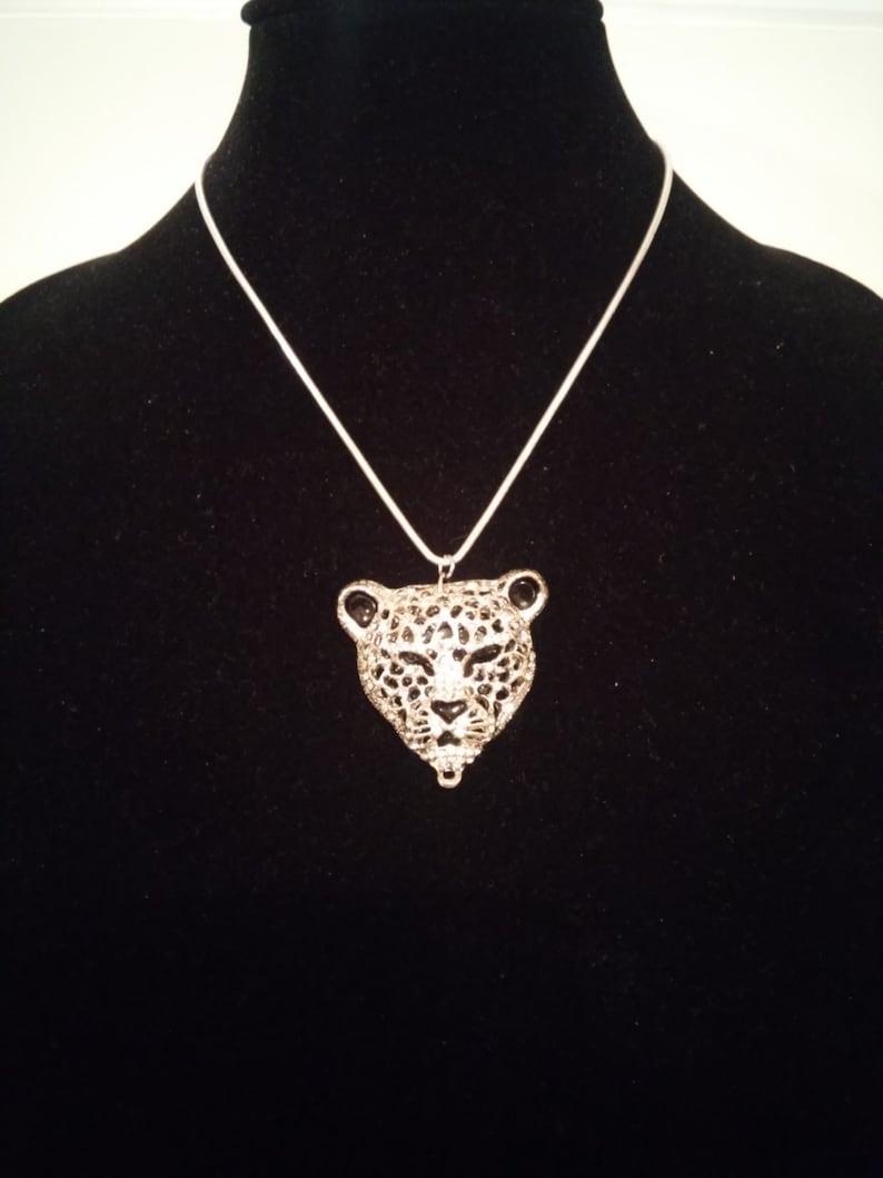 Silver jaguar tiger cheetah panther snake chain necklace  Jag