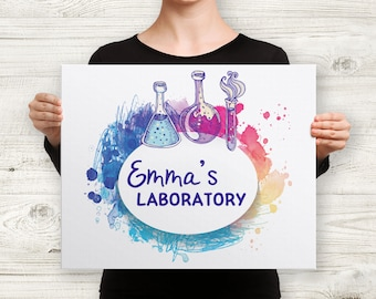 Personalized Nursery Laboratory Name Watercolor Science 16x20 Art Canvas - Nursery, Art, Gift, Scientist, Baby, Biology, Chemistry, Colorful