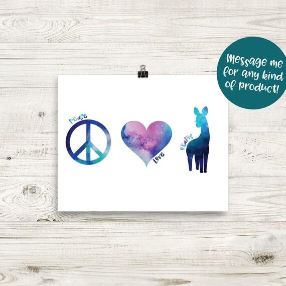 Watercolor Galaxy Peace Love Okapis 8x10 Art Print Okapi Etsy