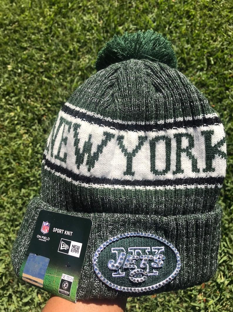 8de10e1a7c9360 New York Jets Bling Hat Beanie Skull Cap | Etsy