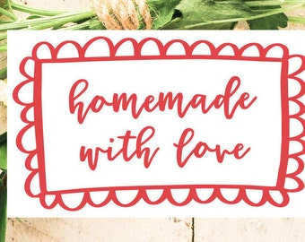 Homemade With Love Label Cookies Jam Sticker Farmers Market Packaging Food Labels Favor Tags Gift Box Canning