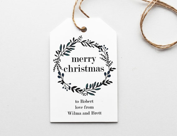 Pink Wreaths Christmas Gift Tags Present Favor Labels