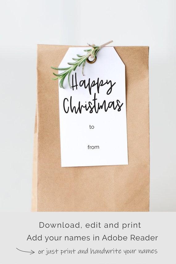 Christmas Gift Tag Template.Printable Christmas Gift Tags Template Editable Instant Download Happy Christmas Customizable Tag Template