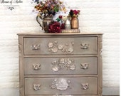 Cream white rose dresser with moulded flowers, anthropologie-like