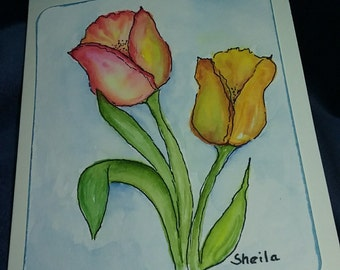 Tulips watercolor note card 5x7