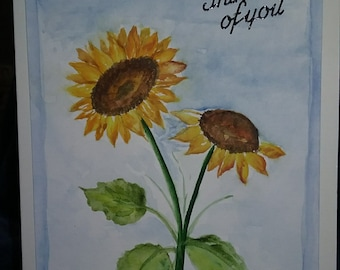 Sun Flower watercolor note card