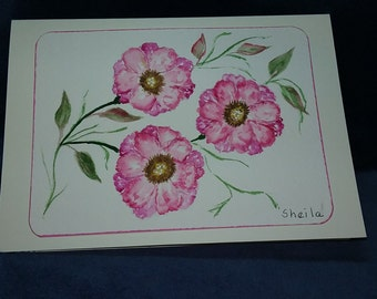 Petunia watercolor note card