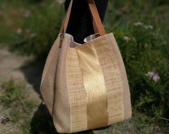 Reversible tote bag - Bling - Burlap, raffia and gold leatherette Collection