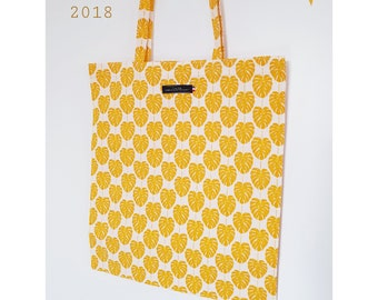 Tote Bag - Palm yellow mustard - 37 x 46 cm