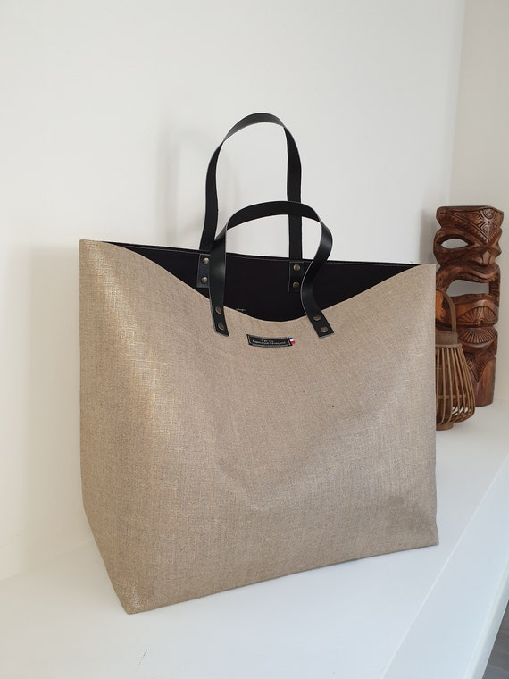 Tote bag Trapeze nude collection-cotton-blend canvas jute-Ecru-H40xL35 high bottom xl15 cm L31