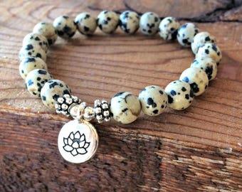 M&B 2 Piece Set - Healing Stone Yoga Mala Bracelets with Dalmation Jasper and African Turquoise