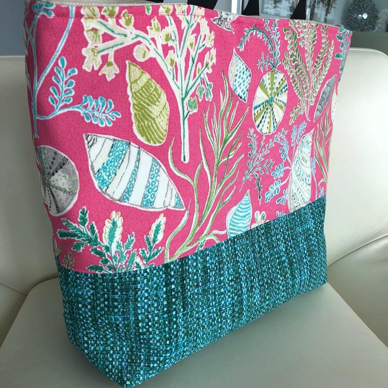 JeNoelle Pink Sea Fishing Tote Bag