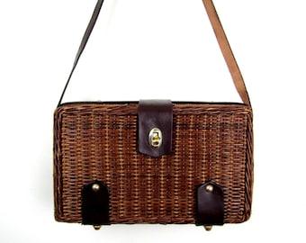 79191f5869 50s Mister Ernest purse 1950s basket bag 50s wicker purse vintage box  basket bag vintage wicker bag 50s rattan bag basket wicker box purse