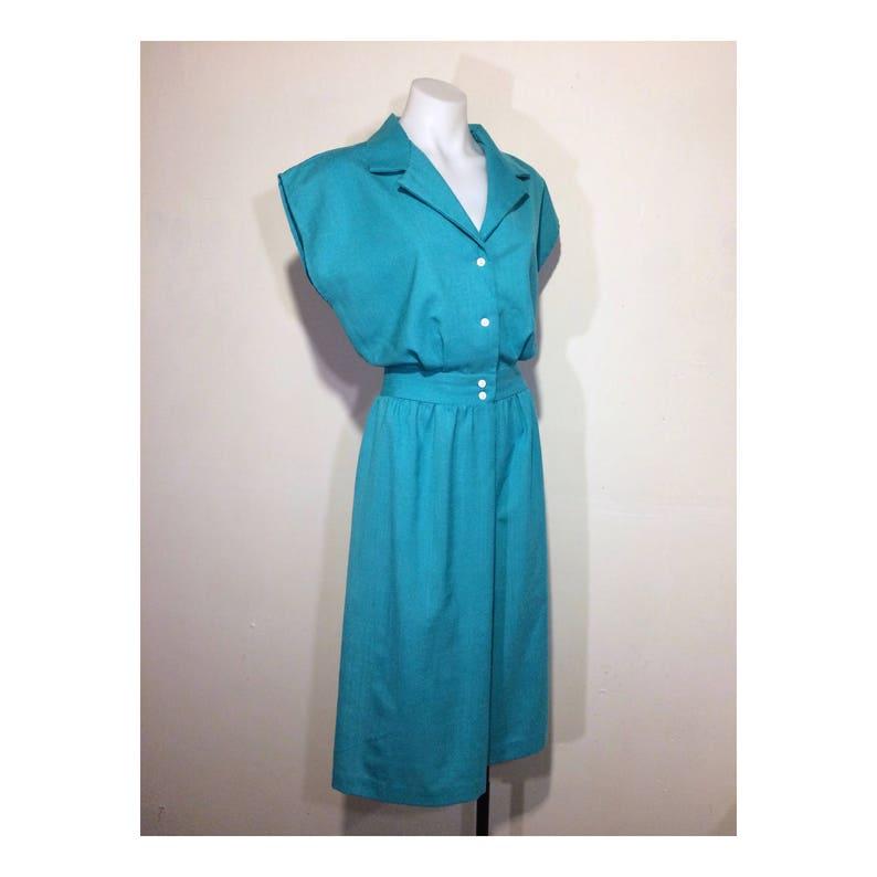 7715e6e25a2 L - XL | 80s does 40s vintage shirtdress 80s blue green shirt dress teal  linen dress button up dress aqua button up dress vintage day dress