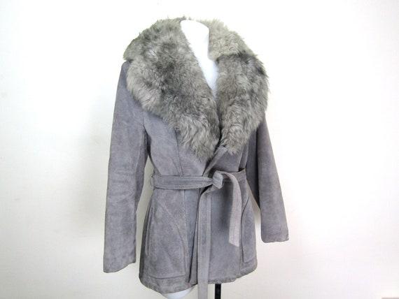 70s shearling collar coat gray suede coat 70s fur