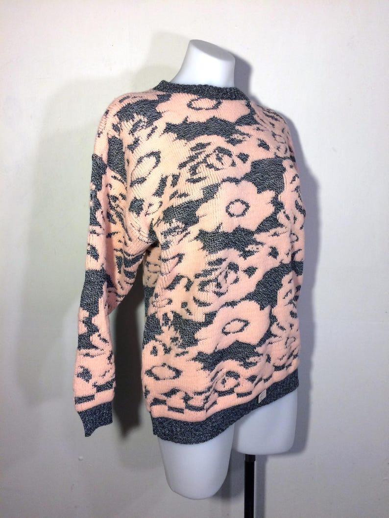 80s pullover sweater deadstock sweater fairy kei sweater fairy kei kawaii floral sweater ugly gray sweater vintage pink sweater sz M