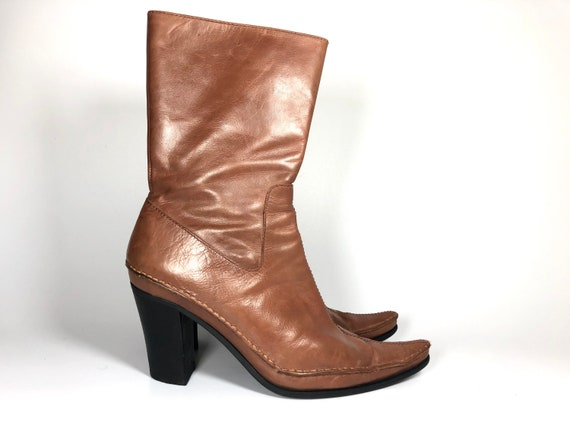 Vintage Brown Boots Retro Southwestern Shoes 90s Ankle Boots Mid-Calf Booties EU 36  UK 3.5  US 6