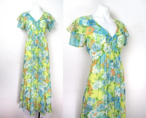 sz M   70s boho maxi dress yellow floral maxi dres