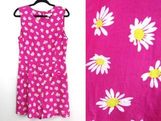 sz M | 90s Express romper 90s daisy print romper 90s floral playsuit 90s floral jumpsuit 90s romper vintage pink romper daisy print dress