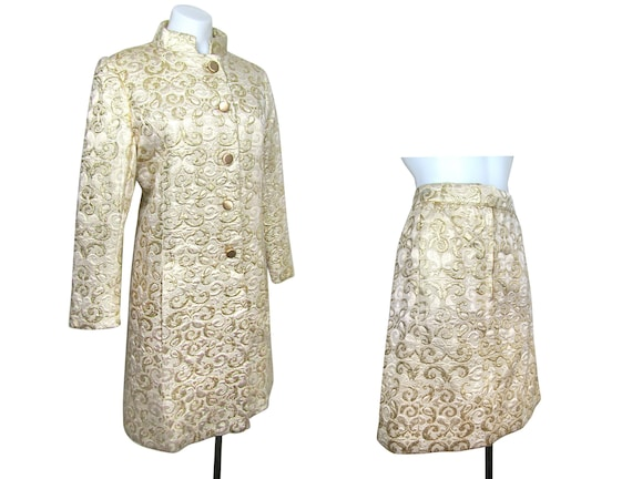 sz M | 60s gold brocade suit 1960s gold brocade co