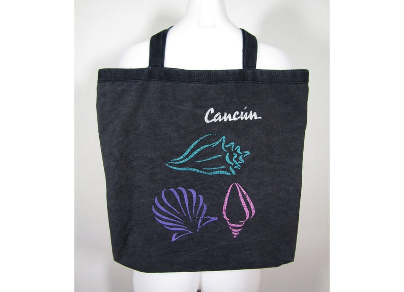 c9671f26fb6f vintage Cancún tote / 90s black tote bag / vintage seashell tote / black  canvas tote / 90s tote bag / vintage beach tote / 90s Cancún bag