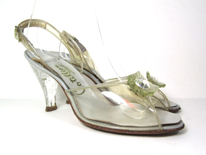 Sz 6.5 50s Cotillion heels clear lucite heels 50s clear