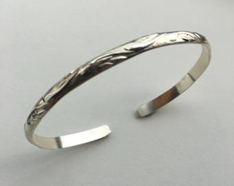 Sterling Silver Thin Cuff Bracelet with Paisley Pattern