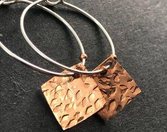 Copper Charm Hoop Earrings