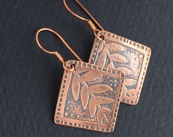 Copper Etched Vine Earrings