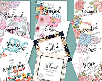 Who I Am In Christ | Identity in Christ Scripture Cards | Bible Memory Cards | | Declaration Cards | Inspirational Cards