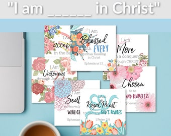 Bible Verse Cards |Affirmation Cards || Scripture Cards | Bible Memory Cards | Identity in Christ| Declaration Cards | Inspirational Cards