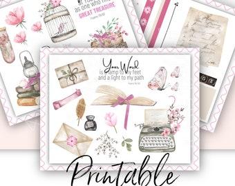 Bible Journaling Printable Kit | Word of God Theme | Scripture Journaling and Scrapbooking Art Printable