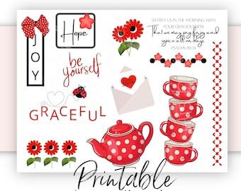 Bible Journaling Printable | Graceful Tea | Scripture Journaling and Scrapbooking Art | Bible Verse Stickers