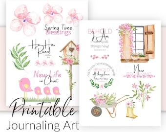 Bible Journaling Printable Art Templates |  Spring Theme - New Creation | Prayer Journal and Scrapbooking  Art |  Bible Verse Stickers