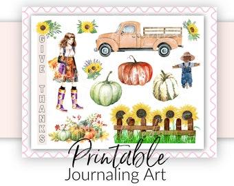 Bible Journaling Printable | Fall Thanksgiving Girl | Scripture Journaling and Scrapbooking Art | Bible Verse Stickers