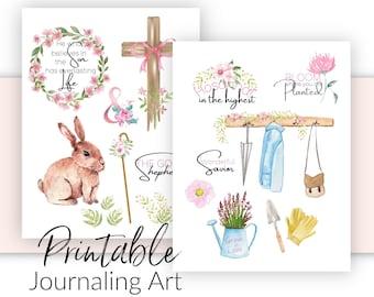 Bible Journaling Printable | Spring - Hosanna Theme Art Templates  | Prayer Journal and Scrapbooking  Art |  Bible Verse Stickers
