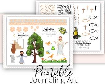 Bible Journaling Kit | Zacchaeus Theme | Prayer Journal and Scrapbooking Art | Bible Verse Stickers