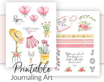 Bible Journaling Kit | Printable Spring Theme - Rejoice in the Lord | Prayer Journal and Scrapbooking Art | Bible Verse Stickers