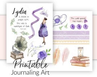 Bible Journaling Printable | Lydia Acts 16 Theme | Scripture Journaling and Scrapbooking Art | Bible Verse Stickers